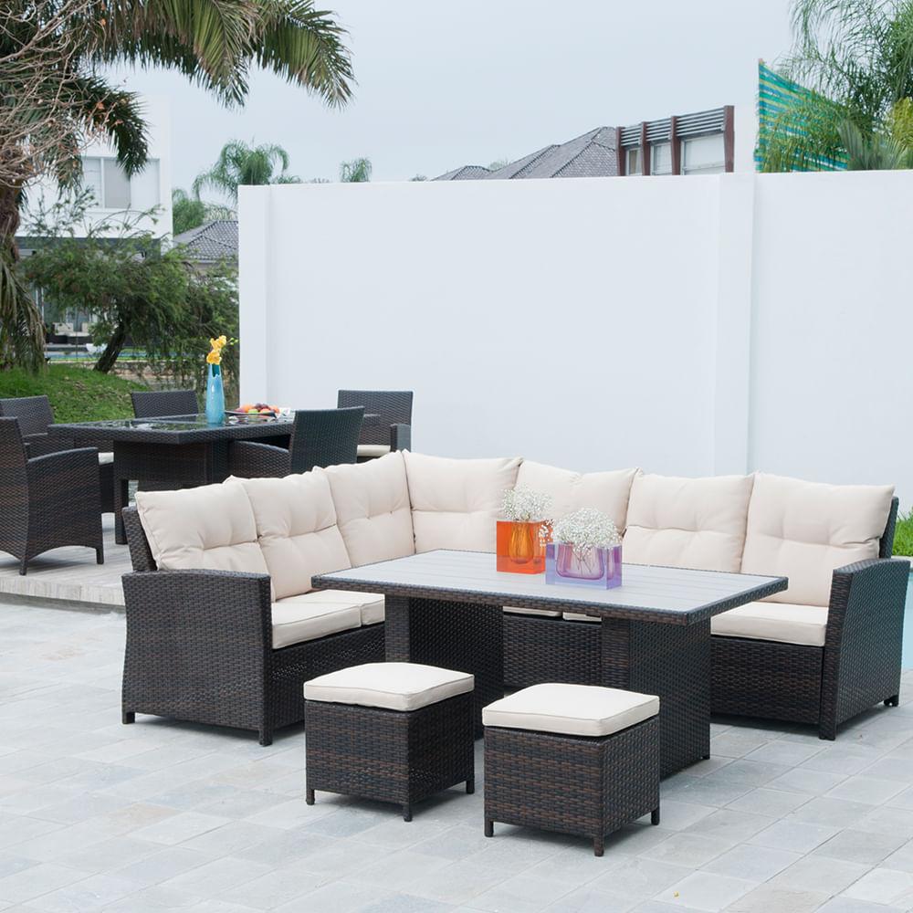 Sofa Set+Mesa Comedor Olympus C/Cojines 2 Azul/2 Rojos - Tempo Design